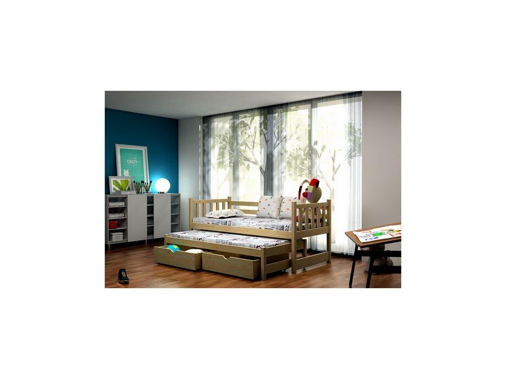 Dřevěná postel KIK-V006 90x200cm s přistýlkou a úložným prostorem borovice masiv lakovaná