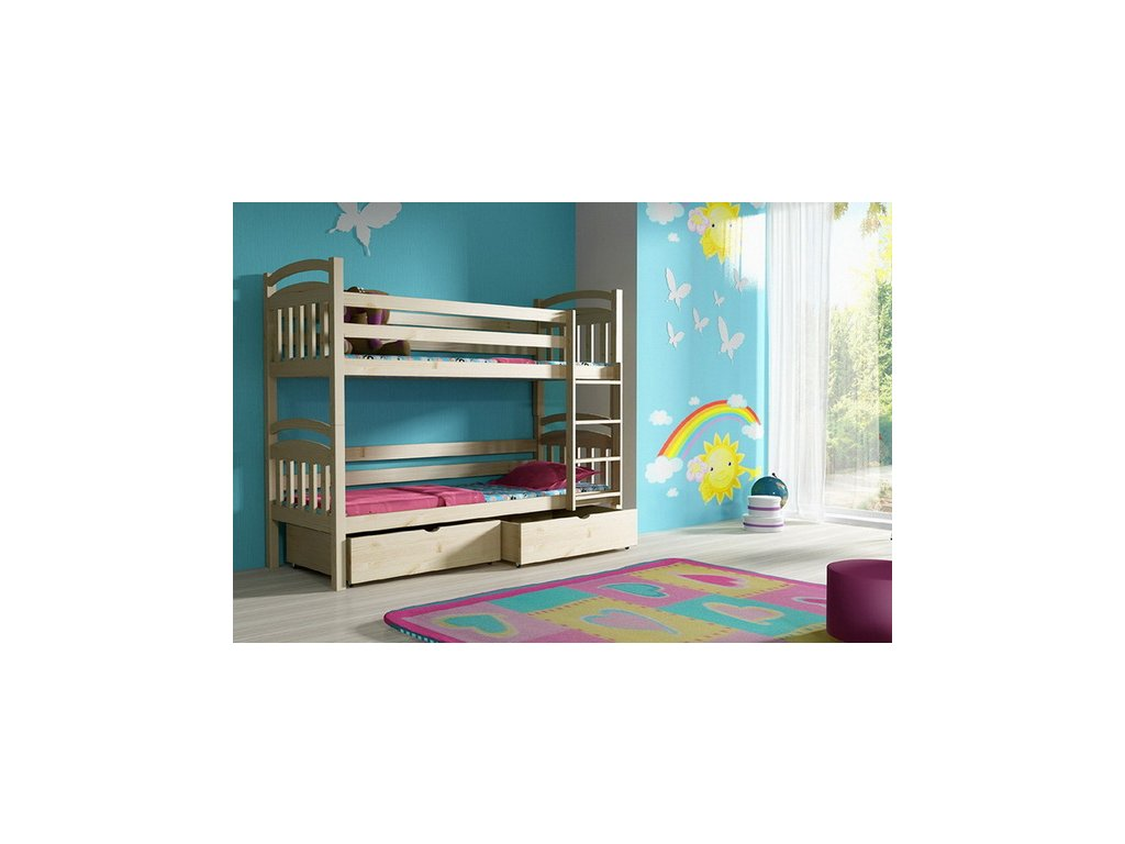 Patrová postel KIK-P003 90x200 cm s úložným prostorem borovice masiv lakovaná