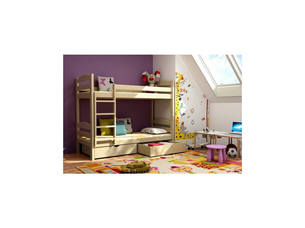 Patrová postel KIK-P004 90x200 cm s úložným prostorem borovice masiv