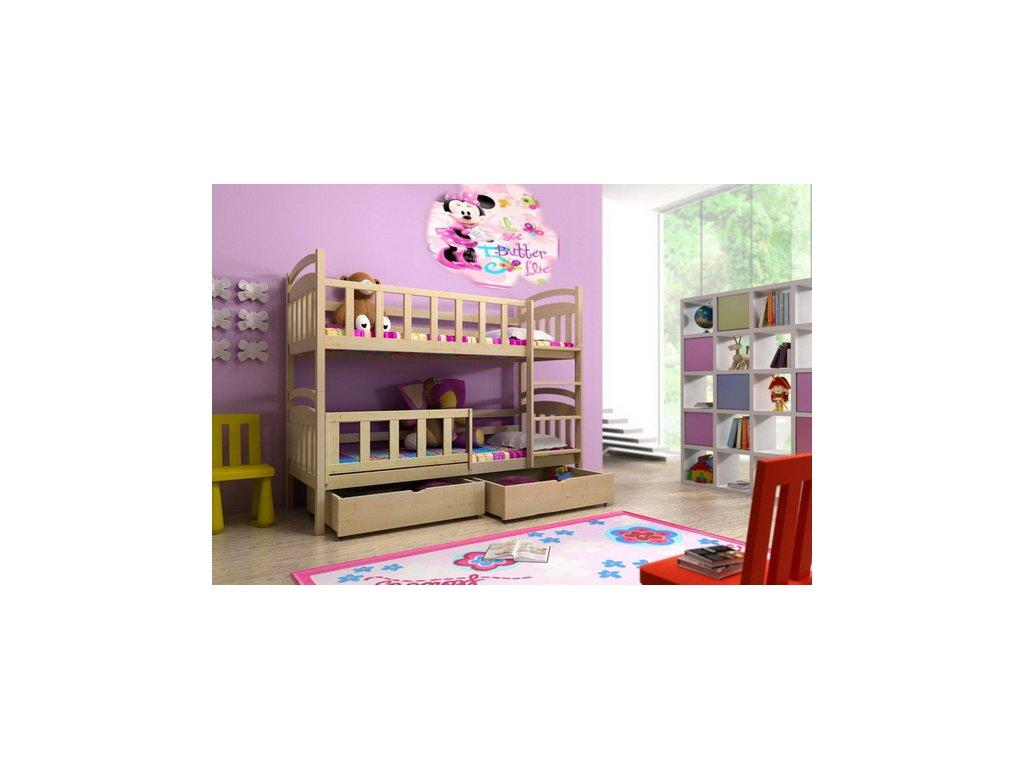 Patrová postel KIK-P005 90x200 cm s úložným prostorem borovice masiv lakovaná