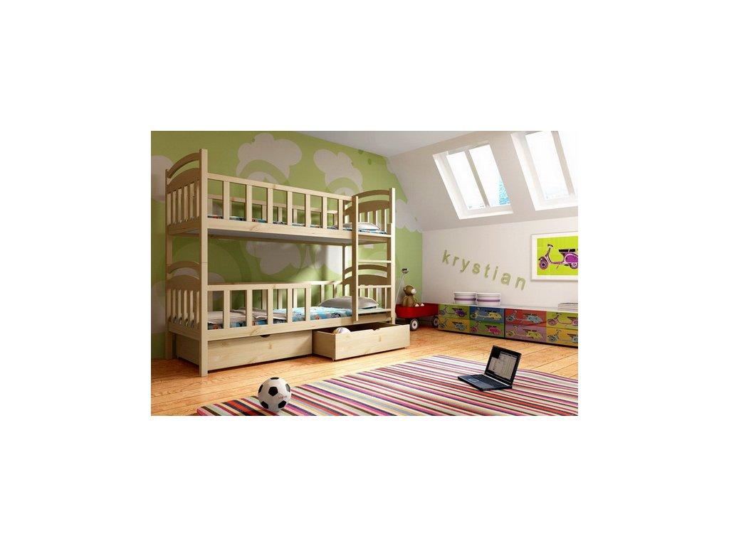 Patrová postel KIK-P007 90x200 cm s úložným prostorem borovice masiv lakovaná
