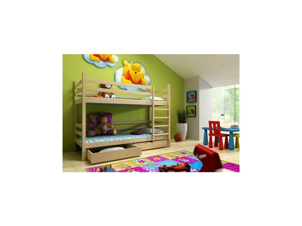 Patrová postel KIK-P008 90x200 cm s úložným prostorem borovice masiv