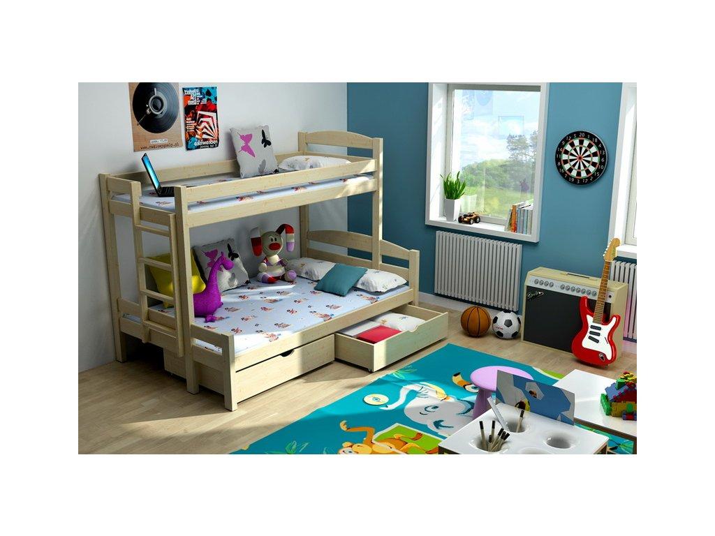 Patrová postel PPS001 200x90 /120cm s úložným prostorem borovice masiv