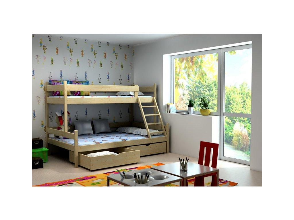 Patrová postel PPS002 200x90 /120cm s úložným prostorem borovice masiv