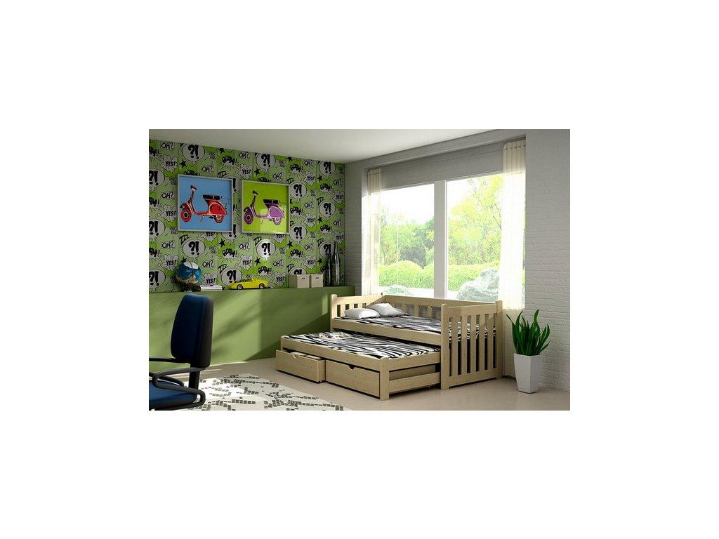 Dřevěná postel KIK-V002 80x200cm s přistýlkou a úložným prostorem borovice masiv lakovaná