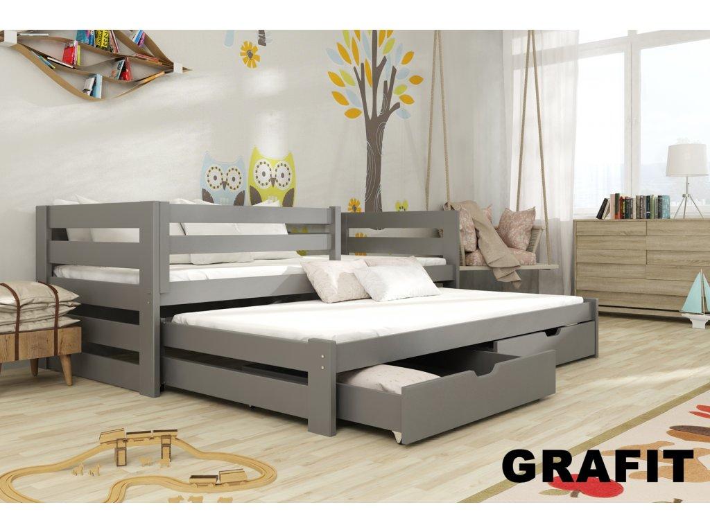 Masivní postel KUBÍK 200X90cm s přistýlkou a úložným prostorem se zábranou borovice masiv GRAFIT