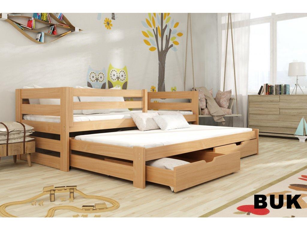 Dřevěná postel KUBÍK 190X90cm s přistýlkou a úložným prostorem se zábranou borovice masiv BUK