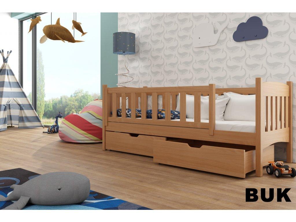 Dřevěná postel GUCIO 180X80cm s úložným prostorem borovice masiv BUK