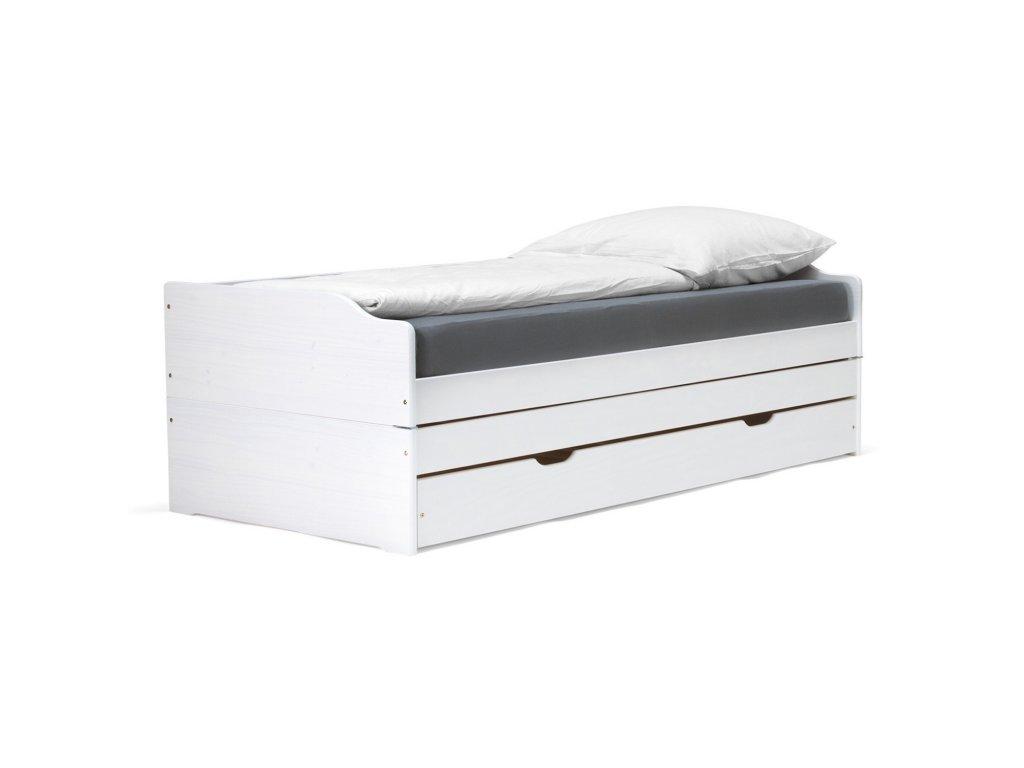 Rozkládací postel FENI 200x90 bílá - SKLADEM 2KS