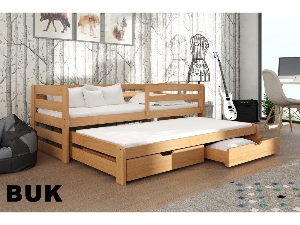 Dřevěná postel L-Senzus 180X80cm s přistýlkou a úložným prostorem se zábranou borovice masiv BUK