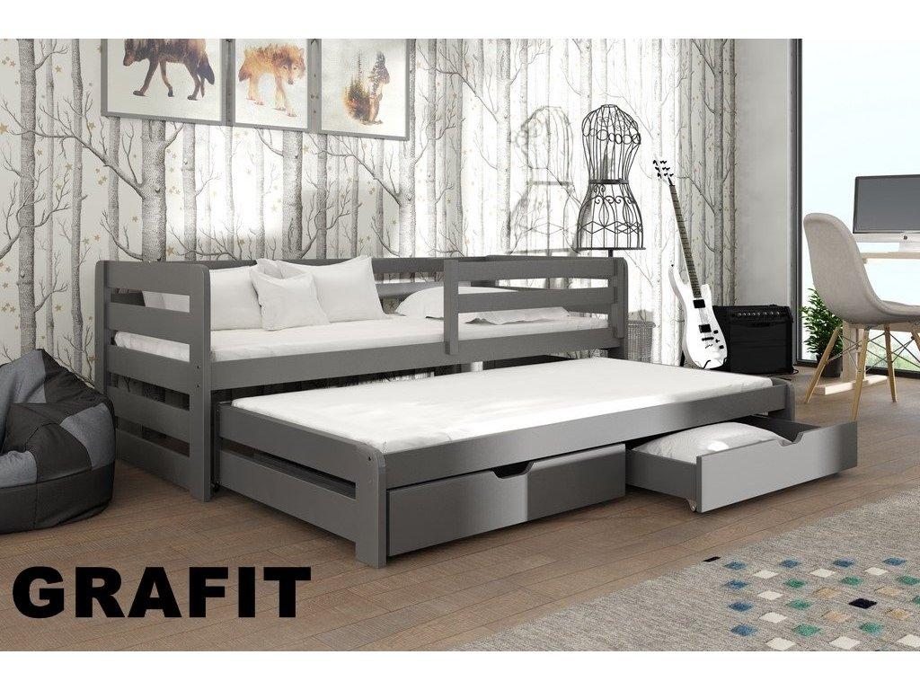 Dřevěná postel L-Senzus 180X80cm s přistýlkou a úložným prostorem se zábranou borovice masiv GRAFIT