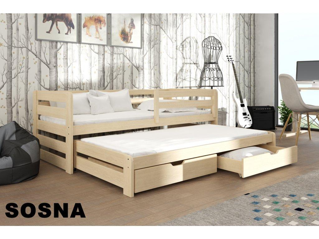 Dřevěná postel L-Senzus 190X90cm s přistýlkou a úložným prostorem se zábranou borovice masiv