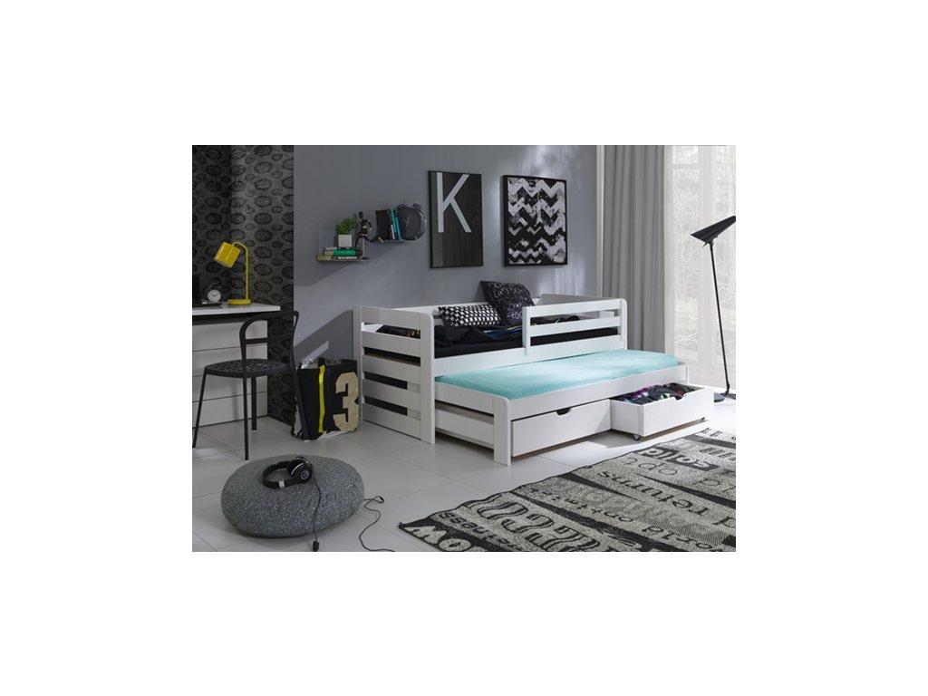 Masivní postel L-Senzus 90x200 cm s přistýlkou a úložným prostorem se zábranou borovice masiv BÍLÁ