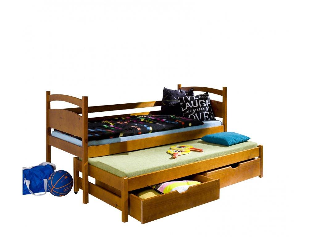 Masivní postel L-Kleus 200X90cm s přistýlkou a úložným prostorem se zábranou borovice masiv