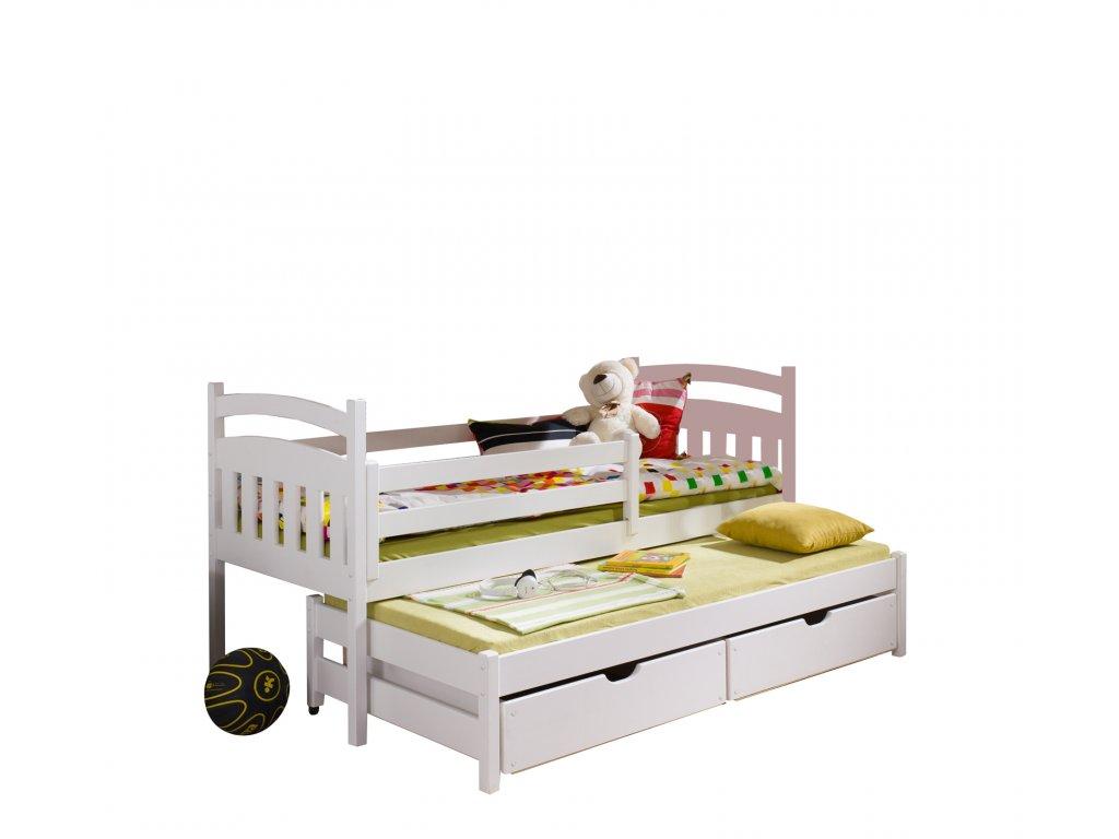 Masivní postel L-Marcus 200X90cm s přistýlkou a úložným prostorem se zábranou borovice masiv