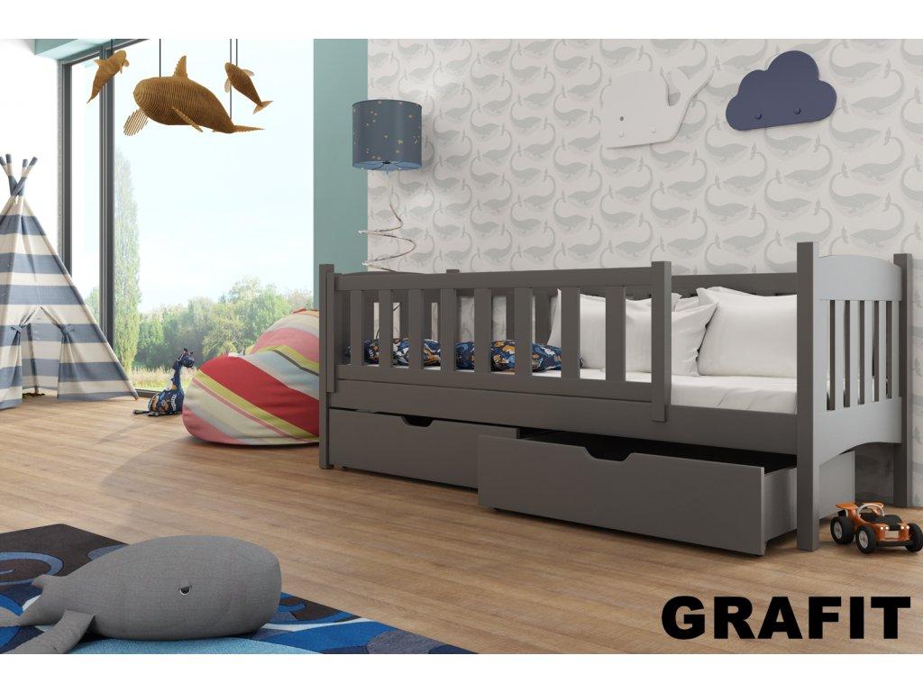 Dřevěná postel GUCIO 160X70cm s úložným prostorem borovice masiv GRAFIT