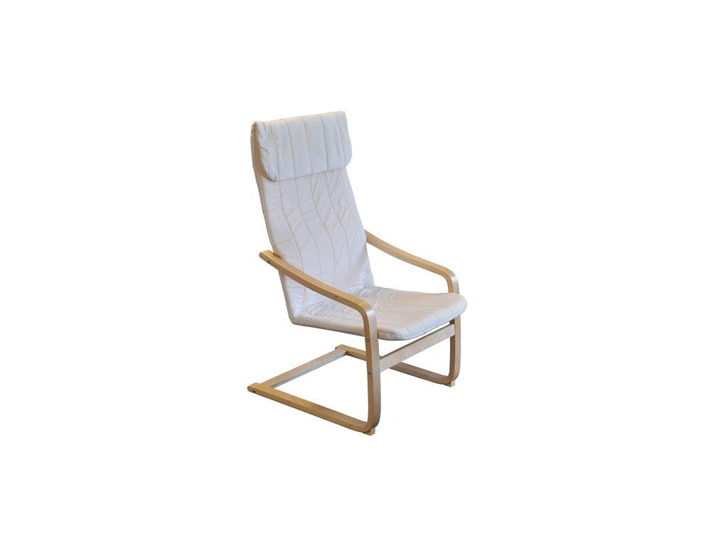 Křeslo relaxační dřevěné  - béžová