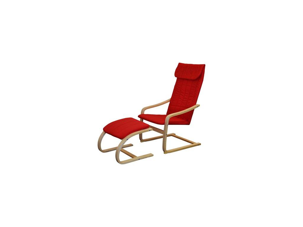 Křeslo relaxační dřevěné s  podnožkou - červené SKLADEM
