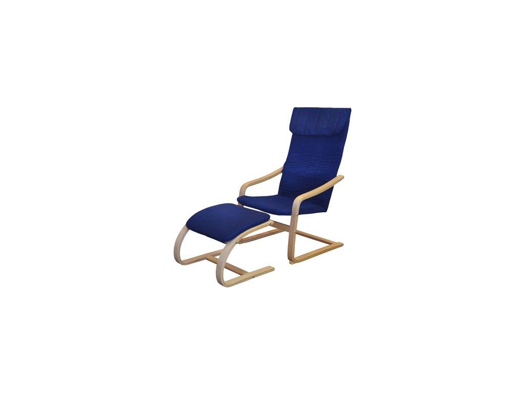 Křeslo relaxační dřevěné s  podnožkou - modré SKLADEM