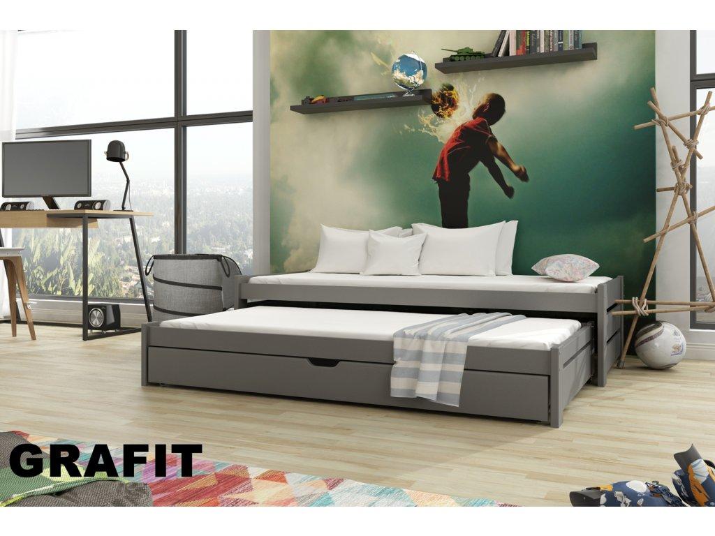 Dřevěná postel ANDREAS 190X90cm s přistýlkou a úložným prostorem borovice masiv GRAFIT