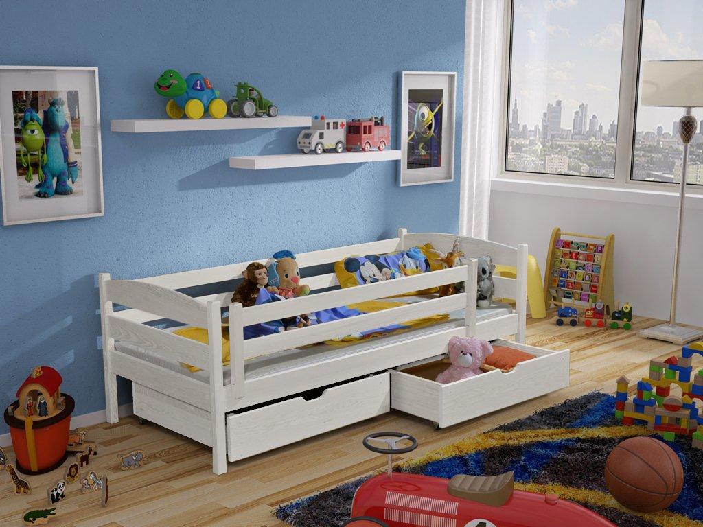 Dřevěná postel ZUZKA 190X90cm s úložným prostorem borovice masiv -Bílá