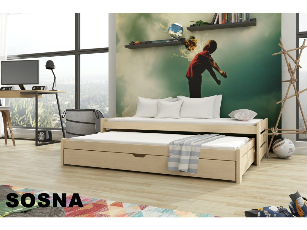 Dřevěná postel ANDREAS 200X90cm s přistýlkou a úložným prostorem borovice masiv
