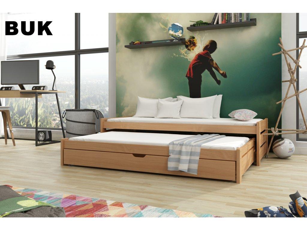 Dřevěná postel ANDREAS 200X90cm s přistýlkou a úložným prostorem borovice masiv BUK