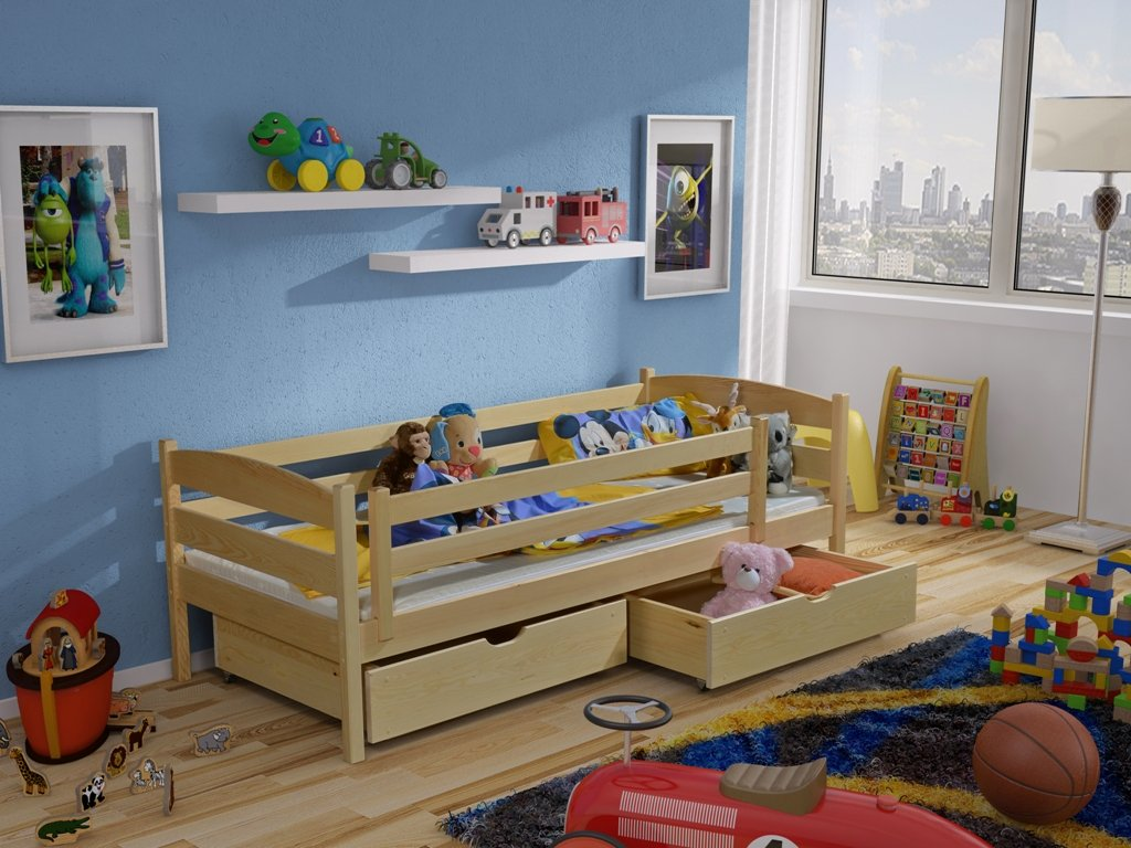 Dřevěná postel ZUZKA 90x200 cm s úložným prostorem borovice masiv