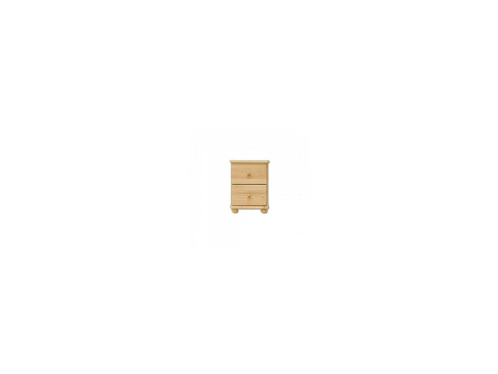 Dřevěná komoda 2 zásuvky -noční stolek  KIK 104 borovice masiv