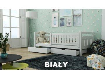 Dřevěná postel s úložným prostorem Terry 80x180 cm odstín bílá