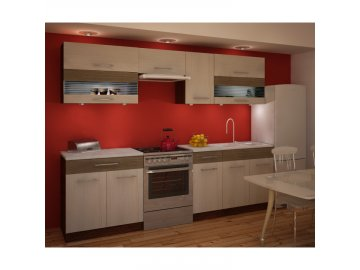 Kuchyňská sestava JURA IA 2,6m - dvířka rigolletto light + dark/ korpus wenge