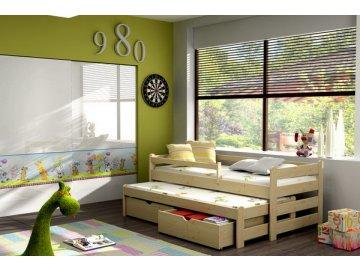 Dřevěná postel KIK-V001 90x190 cm s přistýlkou a úložným prostorem borovice masiv lakovaná
