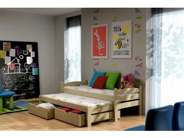 Dřevěná postel KIK-V010 80x200cm s přistýlkou a úložným prostorem borovice masiv lakovaná