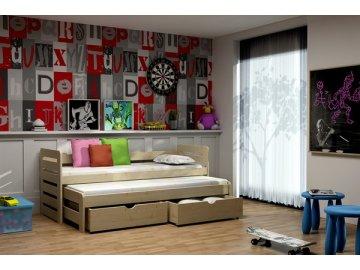 Dřevěná postel KIK-V011 80x200cm s přistýlkou a úložným prostorem borovice masiv lakovaná
