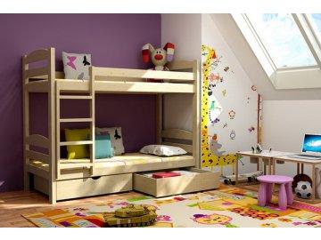 Patrová postel KIK-P004 80x200 cm s úložným prostorem borovice masiv