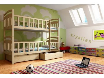 Patrová postel KIK-P007 90x190 cm s úložným prostorem borovice masiv lakovaná