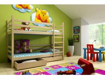 Patrová postel KIK-P008 90x190 cm s úložným prostorem borovice masiv