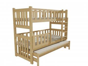 Patrová postel s výsuvnou přistýlkou PPV 023 borovice masiv 80 x 180 cm přírodní