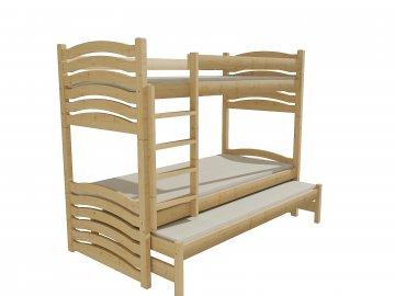Patrová postel s výsuvnou přistýlkou PPV 021 borovice masiv 80 x 200 cm přírodní