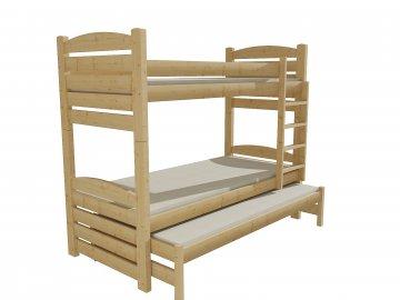 Patrová postel s výsuvnou přistýlkou PPV 022 borovice masiv 80 x 200 cm přírodní