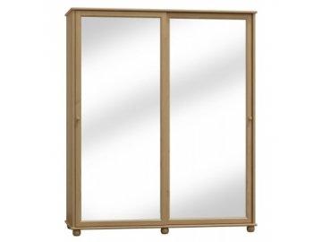 Šatní skříň z borovice s posuvnými dveřmi se zrcadlem Clasik 81  šířka 160 cm