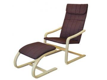 Křeslo relaxační dřevěné s  podnožkou - hnědé