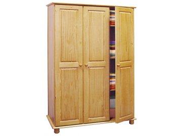 Šatní skříň borovice masiv - 3 dveřová - Skladem