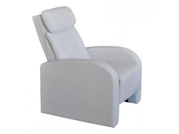 Luxusní relaxační křeslo polohovatelné Toledo bílé SKLADEM