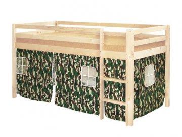 Patrová postel borovice masiv se stanem ARMY