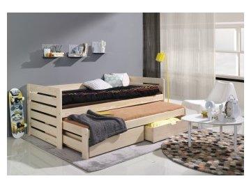 Dřevěná postel s přistýlkou  borovice masiv - komplet s matracemi!!