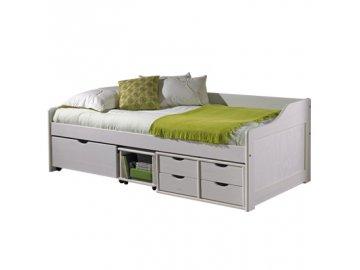 Postel Maxi  8809 s úložným prostorem borovice masív 90x200 cm bílá -SKLADEM