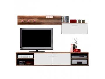 Moderní obývací stěna -ořech /bílá- SKLADEM