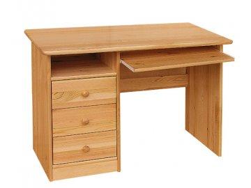 Masivní dřevěný psací stůl - levý - borovice masiv