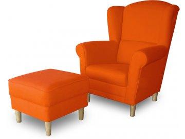 Křeslo ušák s taburetem -oranžové